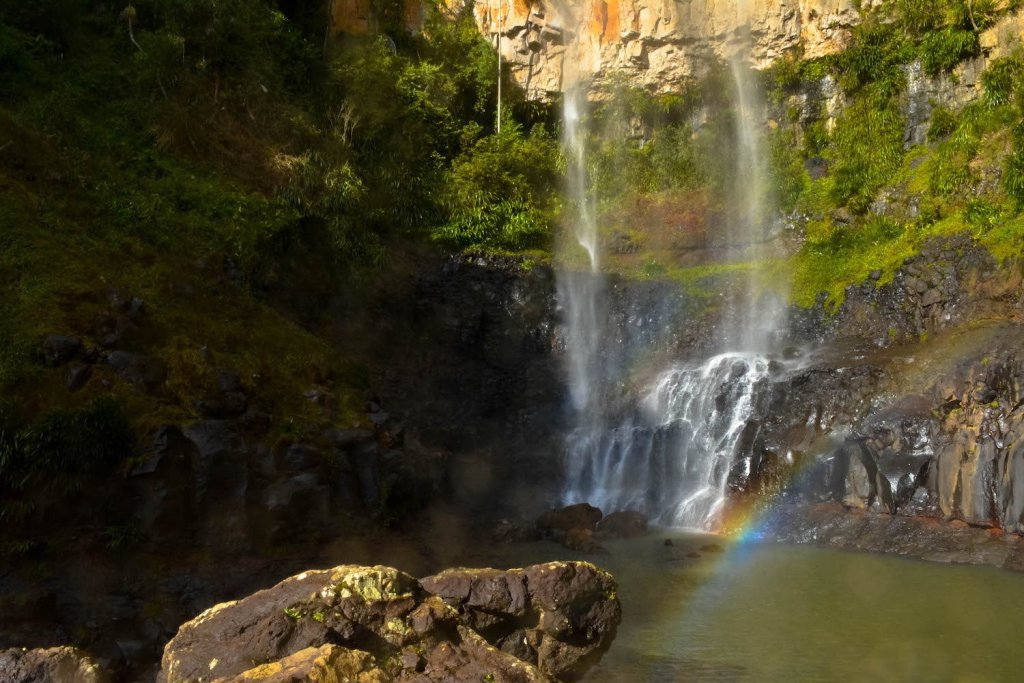 base of purling brook falls, best waterfall hikes near brisbane, queensland, lisa owen, microadventure, waterfall