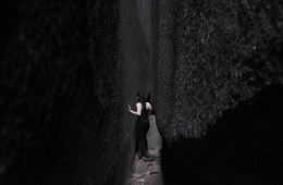 Picnics And Secret Passageways // Mt Norman (QLD), Lisa Owen, WAE_MtNorman_Crevice, crack, woman, path, walls,