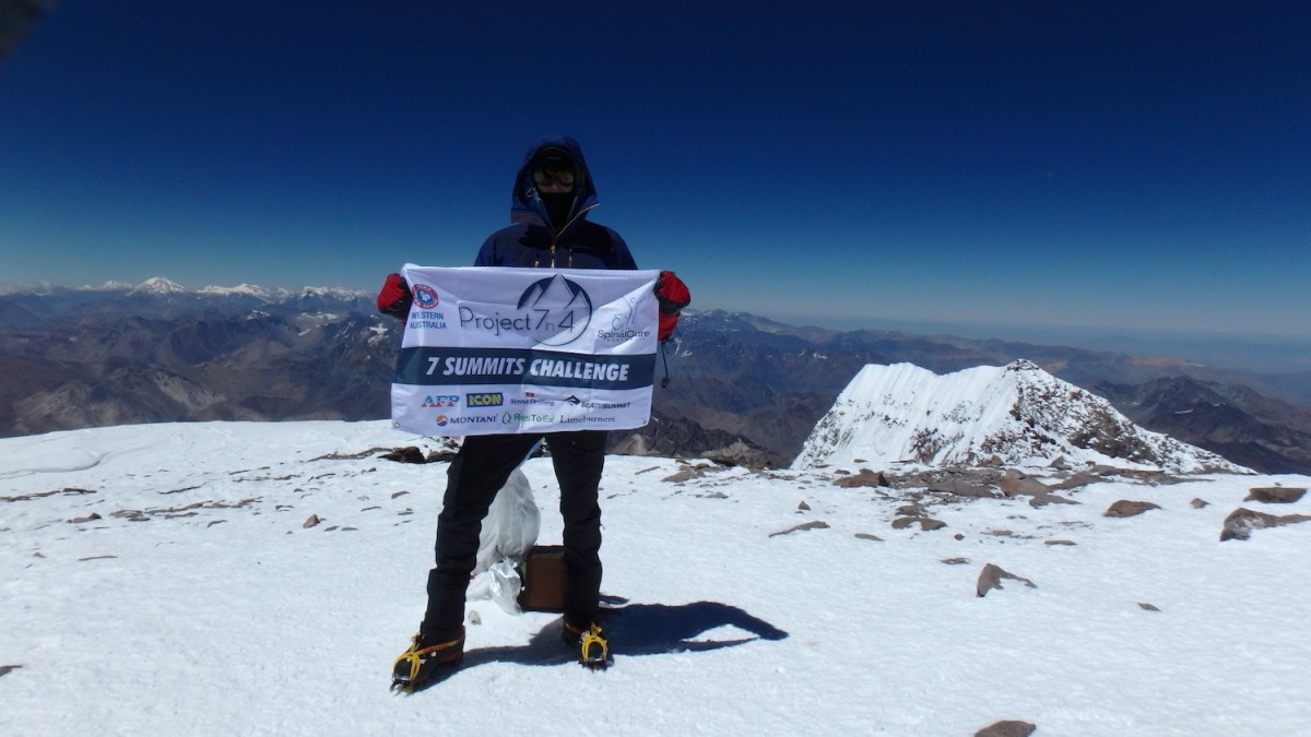 steve plain, summit, aconcagua, mountaineer, project 7in4