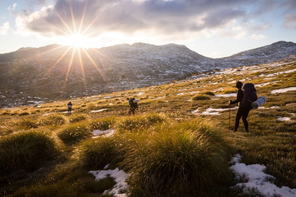 Rachel Dimond // Explorer Of The Month - March '18, Sunset - Kosciuszko, snow, hikers, sunburst, clouds, hillside