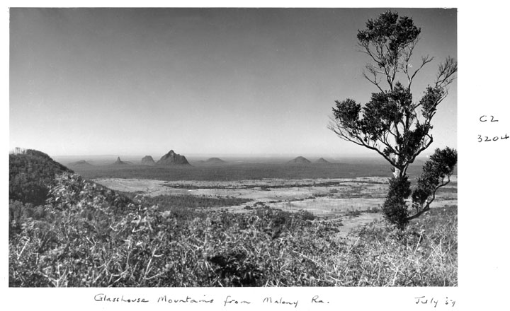 Glasshouse Mountains from Maleny, history of climbing in Australia, 1959