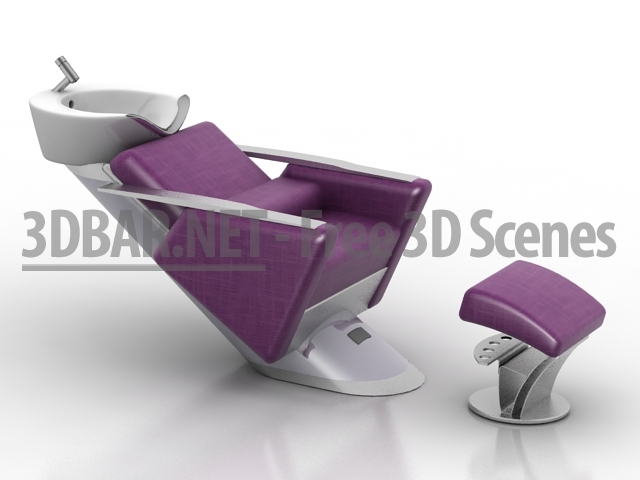 shampoo sink and chair white bonded leather 3d bar free scenes models collections daily update hair salon collection