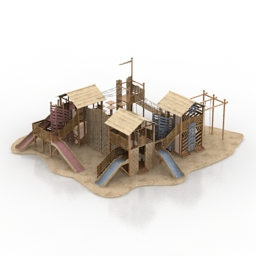 Playground wooden N070716  3D model gsm3ds for exterior 3d visualization  Park Stuff