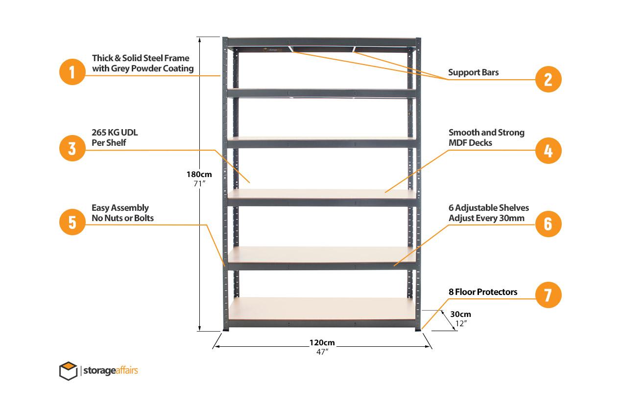5 tier wide extra heavy duty shelving