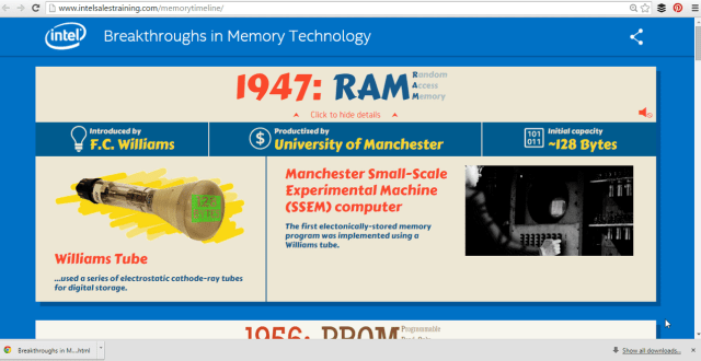 Intel History of Memory Infographic