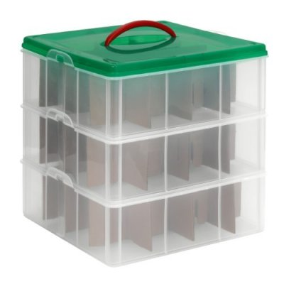 Snapware Snap 'N Stack Square 3-Tier Seasonal Ornament Storage Container, 13 by 13-Inch