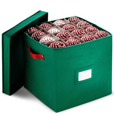 """Christmas Ornament Storage Box With Lid - Protect and Keeps Safe Up To 64 Holiday Ornaments & Xmas Decorations Accessories, Durable Non-Woven Ornament Storage Container, 3"""" Compartments & Two Handles"""