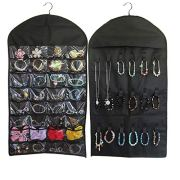 BaggieM Hanging Jewelry Organizer Jewelry Bags Travelling Accessory Organizer Double Sided with 32 Pockets 18 Loops (Black)