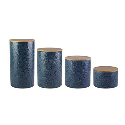 4-Piece Ceramic Set Jar Container with Wooden Lids