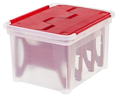 IRIS USA, WFB-45LW, Wing-Lid Storage Box with 4 Light Wraps, Red, 1 Pack