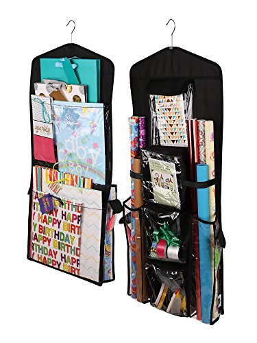 Regal Bazaar Double-Sided Hanging Gift Bag and Gift Wrap Organizer (Black)