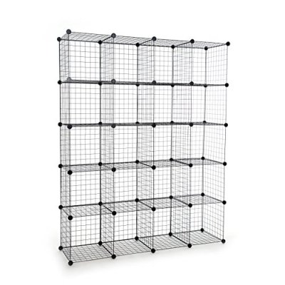 UNICOO - Multi Use DIY 20 Cube Wire Grid Organizer,Wardrobe Organizer