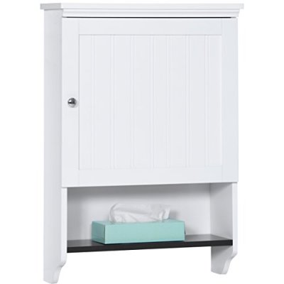 Best Choice Products Bathroom Wall Mounted Hanging Storage Cabinet Furniture w/Open Shelf, Versatile Door - White