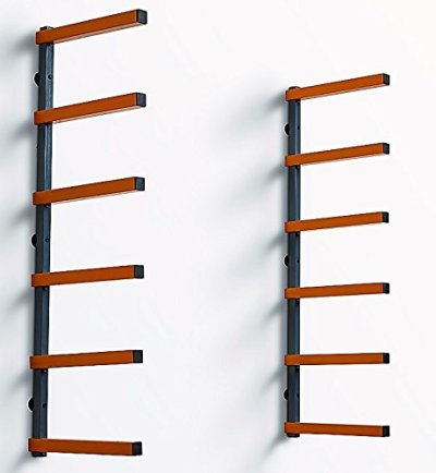 PortaMate PBR-001 Wood Organizer and Lumber Storage Metal Rack with 6-Level Wall Mount – Indoor and Outdoor Use