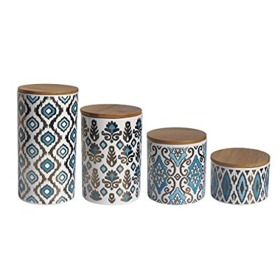 American Atelier Canister Set (4 Piece), Blue/Gold