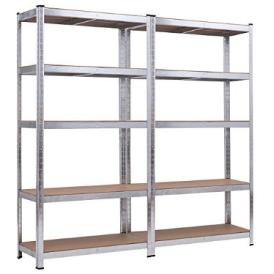 "Giantex 2 Pcs Shelving Rack Storage Shelf Steel Garage Utility Rack 5-Shelf Adjustable Shelves Heavy Duty Display Stand for Books, Clothes, Kitchenware, Tools Bolt-Free Assembly 36""x 16""x 72"" (2)"