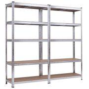 "Giantex 2 Pcs Shelving Rack Storage Shelf Steel Garage Utility Rack 5-Shelf Adjustable Shelves Heavy Duty Display Stand for Books, Clothes, Kitchenware, Tools Bolt-Free Assembly 36""x 16""x 72"" (2)"
