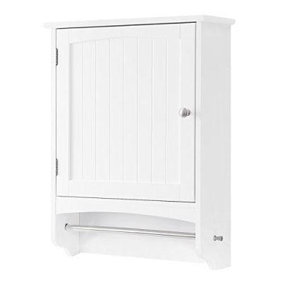 Hanging Bathroom Storage Cabinet with Rod and Adjustable Shelf