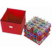 ProPik Holiday Ornament Storage Box Organizer Chest, with 3 Trays Holds Up to 75 Ornaments Balls, with Dividers to Organize Durable 600D Oxford Material (Red)