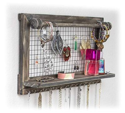 Buttercup Rustic Jewelry Organizer with Bracelet Rod Wall Mounted