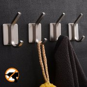 YIGII Towel Hook/Adhesive Hooks - Bathroom Hooks Wall Hooks Bath Show Robe Hook Self Adhesive Coat Hook Stick on Wall Stainless Steel Brushed 4-Pack