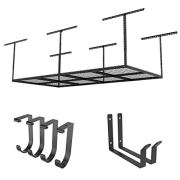 FLEXIMOUNTS 4x8 Overhead Garage Rack with Add-on Hooks Set