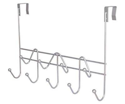 ESYLIFE Hooks Over the Door Hook Organizer Rack Hanging Towel Rack Over Door, 9 Hooks, Chrome Finish
