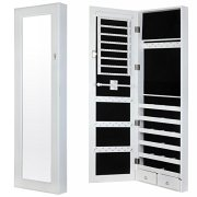 Homegear Modern Door/Wall Mounted Mirrored Jewelry Cabinet Organizer Storage White