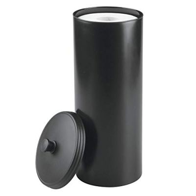 mDesign Plastic Free Standing Toilet Paper Holder Canister - Storage for 3 Extra Rolls of Toilet Tissue - for Bathroom/Powder Room - Holds Mega Rolls - Black