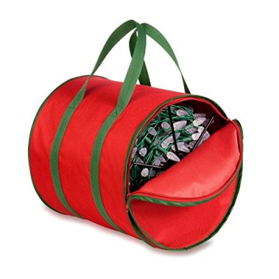 Honey-Can-Do SFT-02104 Holiday Light String Storage Reels and Bag, Red/Green