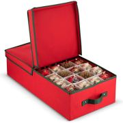 Underbed Christmas Ornament Storage Box With Lide - Sturdy 600D Oxford Fabric Stores up to 64 Standard Christmas Ornaments, And Holiday Accessories Storage Container with Dividers, - 5 Year Warranty