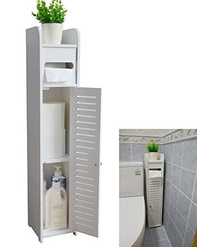 Aojezor Small Bathroom Storage Corner Floor Cabinet with Doors and Shelves, Thin Toilet Vanity Cabinet, Narrow Bath Sink Organizer, Towel Storage Shelf for Paper Holder, White
