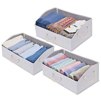 StorageWorks Storage Bins, Fabric Storage Baskets, Foldable Closet Organizer Trapezoid Storage Box, Bamboo Style, White, EX-Jumbo, 3-Pack
