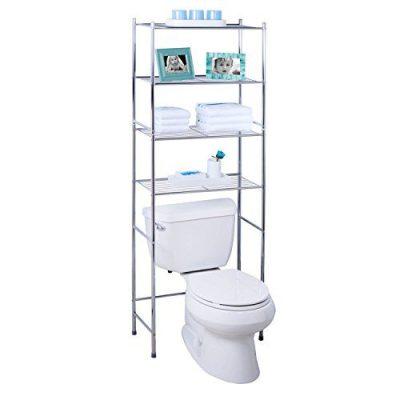 Honey-Can-Do BTH-05281 4-Tier Metal Bathroom Shelf Space Saver, 24.02 x 11.02 x 67.72, Chrome