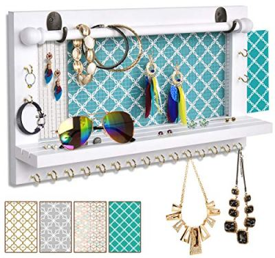 VIEFIN White Wall-Mounted Mesh Jewelry Organizer, Wooden Earring Bracelet Holder with Shelf, Hanging Hooks for Necklace, Chic Wall Decor
