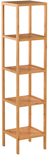 Bamboo Bathroom Shelf 5-Tier Tower Free Standing Rack