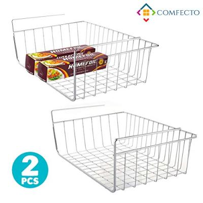 """2pcs 15.8"""" Under Cabinet Storage Shelf Wire Basket Organizer for Cabinet Thickness Max 1.2 inch, Extra Storage Space on Kitchen Counter Pantry Desk Bookshelf Cupboard, Anti Rust Stainless Steel Rack"""