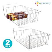 "2pcs 15.8"" Under Cabinet Storage Shelf Wire Basket Organizer for Cabinet Thickness Max 1.2 inch, Extra Storage Space on Kitchen Counter Pantry Desk Bookshelf Cupboard, Anti Rust Stainless Steel Rack"
