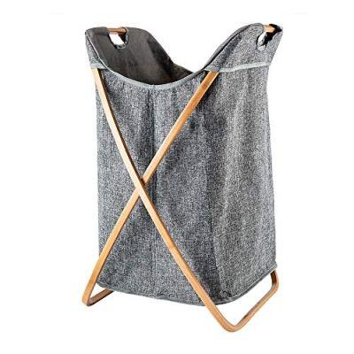 Hosroome Bamboo Laundry Hamper Laundry Baskets with Handles Waterproof Foldable Hamper Easily Transport Laundry,Grey