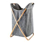 Hosroome Bamboo Laundry Hamper Laundry Baskets with Handles Waterproof Foldable Hamper Easily Transport Laundry,Grey