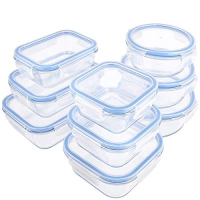18 Pieces Glass Food Storage Containers with Lids,Glass Meal Prep Containers,Airtight Leakproof Lids BPA Free,Safe for Dishwasher