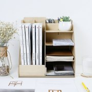 Wood Multi-Use Office Organizer Sundries Table Storage Box Colorful DIY Files Racks Eco Stationary/Book Storage Holder