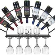 Sorbus Wine Bottle Stemware Glass Rack Wall Mounted - Bordeaux Chateau Style - Holds 7 Bottles of Your Favorite Wine - Elegant Storage for Kitchen, Dining Room, Bar, or Wine Cellar (Black)