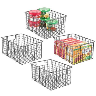 """mDesign Farmhouse Decor Metal Wire Food Storage Organizer Bin Basket with Handles - for Kitchen Cabinets, Pantry, Bathroom, Laundry Room, Closets, Garage - 12"""" x 9"""" x 6"""" - 4 Pack - Graphite Gray"""