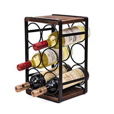 Soduku Rustic Wood Countertop Wine Rack 6 Bottles No Need Assembly