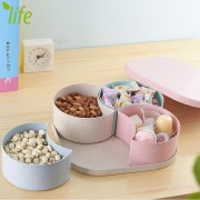 Eco-friendly Wheat-straw Candy Jar Pink Nuts Large Capacity Modern Box Storage Box With Fruit Plate 1 Piece Free Shipping