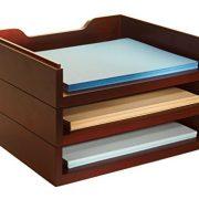 Bindertek Stacking Wood Desk Organizers with 3 Letter Tray Kit, Mahogany (WK4-MA)