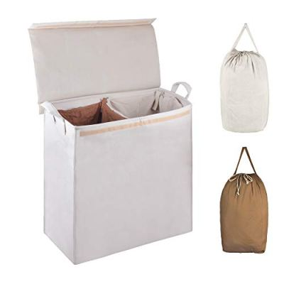 MCleanPin Collapsible Double Laundry Hamper with 2 Sorting Liners,Dirty Clothes Laundry Sorter with Lid,Removable Laundry Bags with Drawstring Closure and Handles College Dorm Room Hamper.Beige