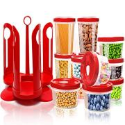 Fun Life 25-Piece Food Storage Container Set with Rotating Rack, Durable Plastic Canister Jar with Red Lids, Perfect for Flour, Sugar, Cereals, BPA Free, Leakproof, Microwave/Freezer/Dishwasher Safe