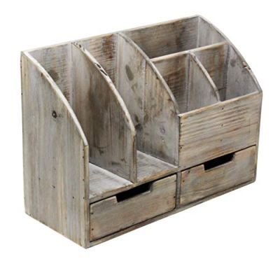 Vintage Rustic Wooden Office Desk Organizer & Book Shelf for Desktop, Tabletop, or Counter - Distressed Torched Wood – for Office Supplies, Desk Accessories, or Mail